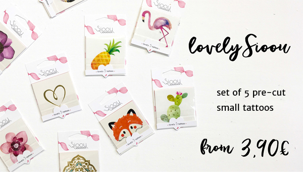 Lovely Sioou : 5 small temporary tattoos set