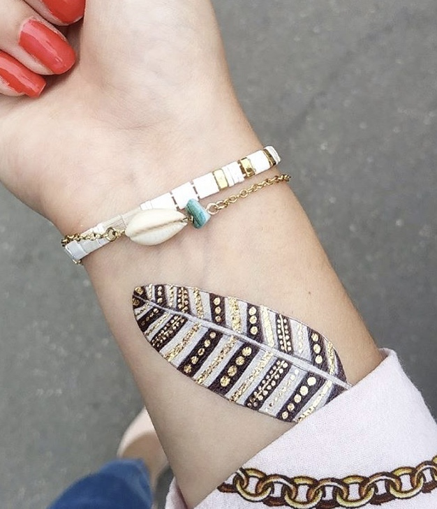 tatouage ephemere sioou plume blanche